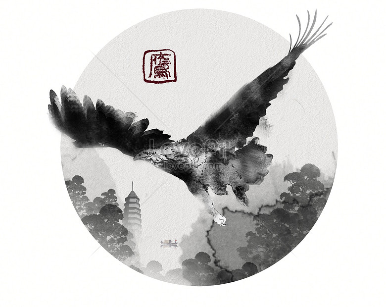 hand painted eagle ink creative spot painting chinese style