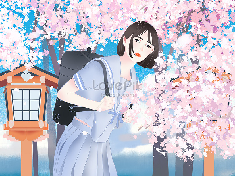 cherry blossom girl of japanese cherry blossom festival in xiaoq