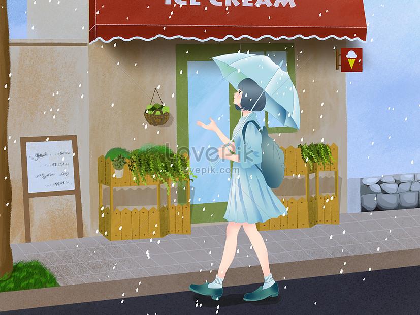 rain illustration of qingming festival