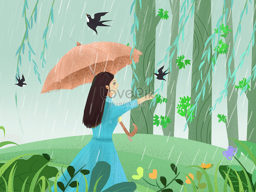xiao qingxin style illustration rainy qingming festival