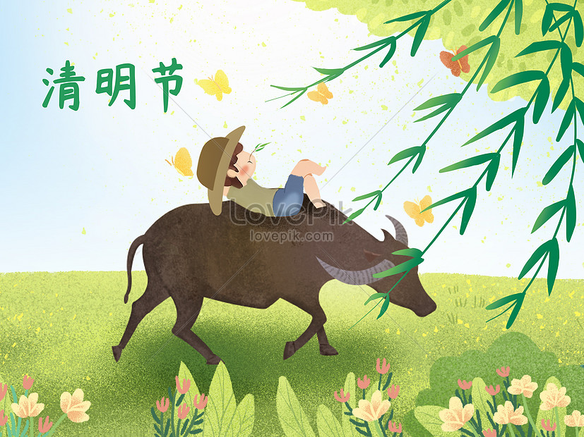 xiao qingxin style qingming festival leisurely illustration