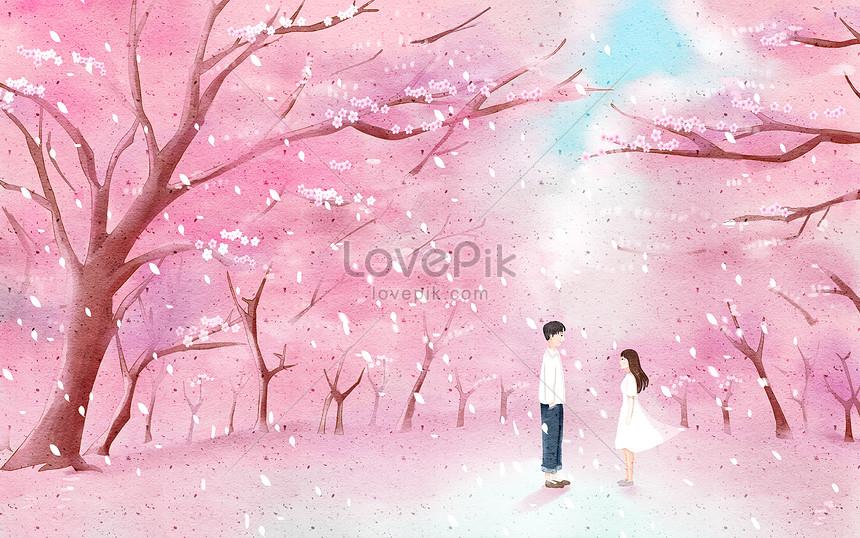pink love couple under cherry tree
