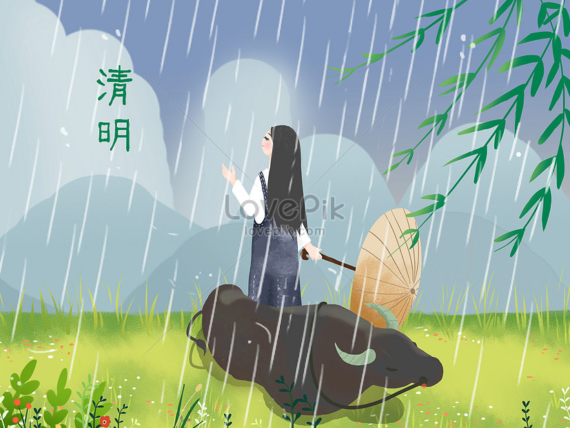 illustration of qingming festival bulls and girls