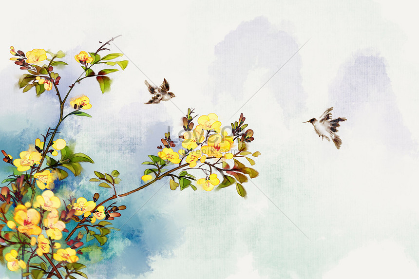 chinese geomantic ink flowers in spring
