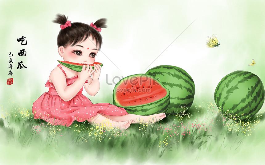 Смешные авторские рисунки девочки с арбузной долькой