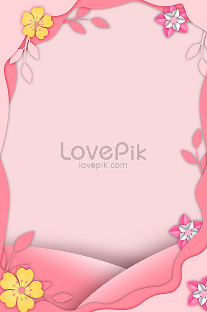 background of pink fresh paper cut style