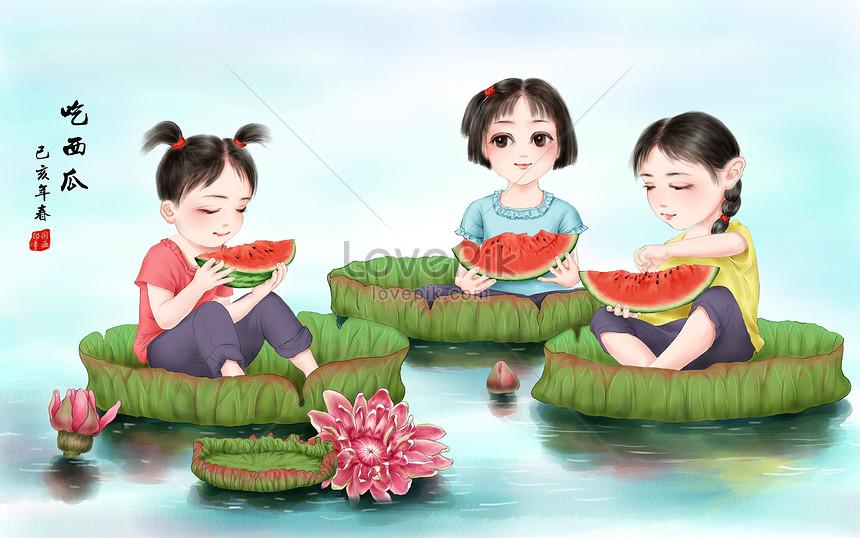 Lovepik صورة Psd 401119717 Id توضيح بحث صور أطفال يأكلون البطيخ