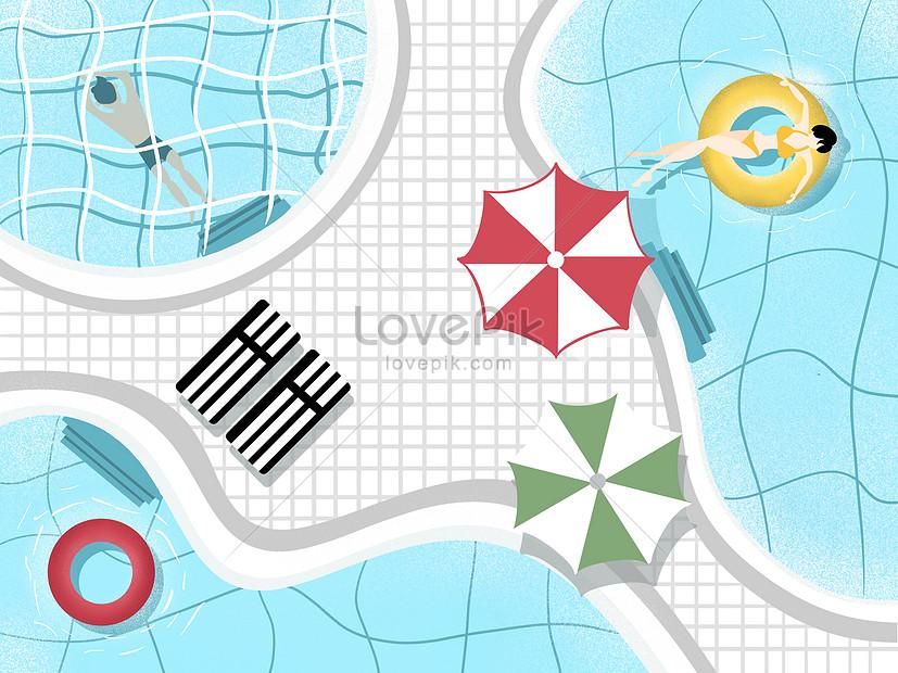 summer swimming pool illustrations