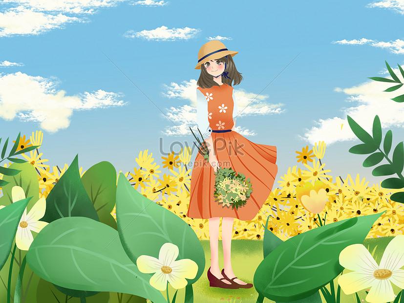 花の中の女の子の少し新鮮なスタイルイラストイメージ図 Id