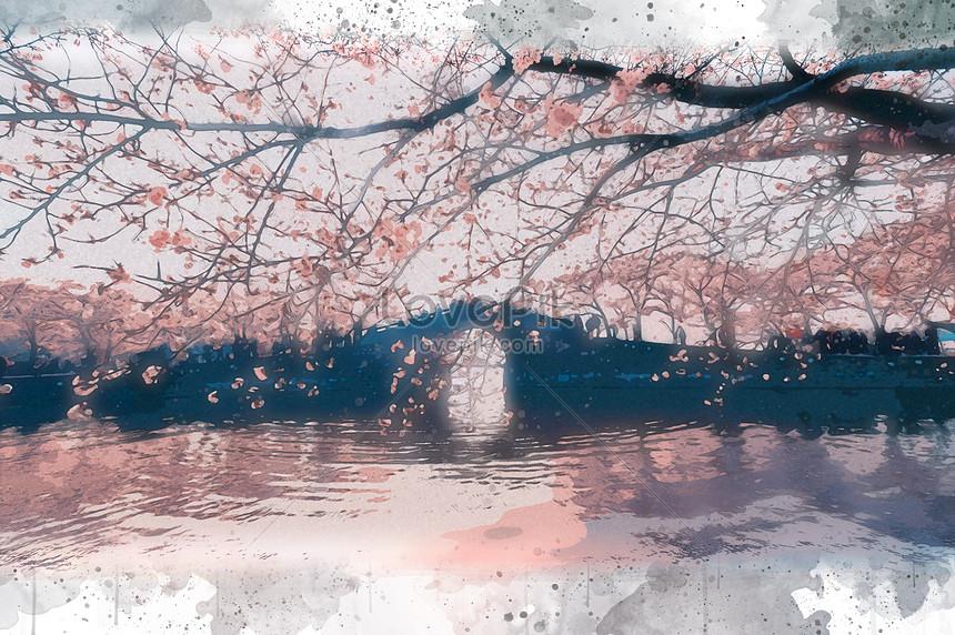 Vẽ Tay Màu Nước Phong Cảnh Nền đẹp Chữa Bệnh Minh Họa Hình