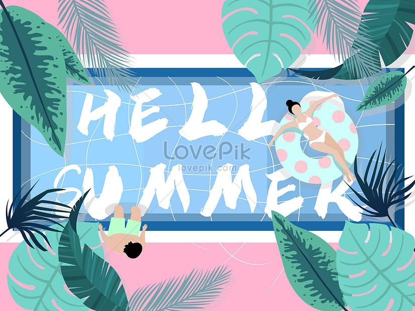 summer pool summer cool illustration