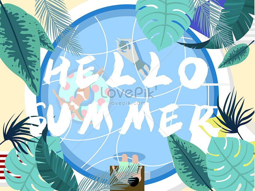 summer pool cool plants beautiful illustration