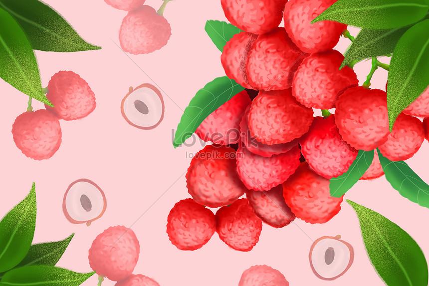 summer lychee fruit background