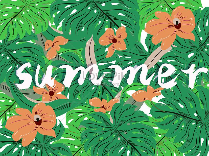 Summer Musim Panas Botanical Floral Background Vektor Ilustrasi