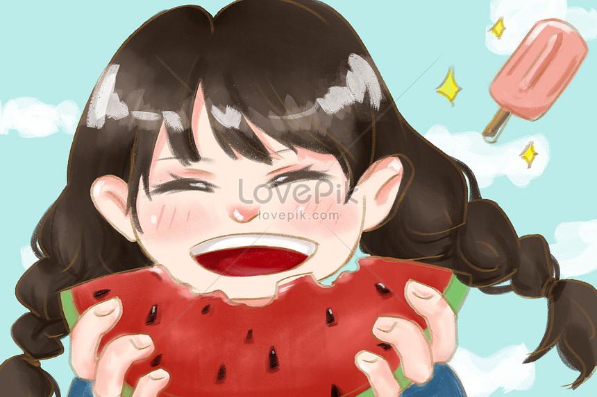 pequeña ilustración dibujada mano fresca de la muchacha de la sa