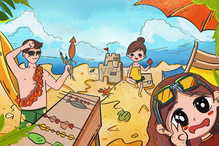 Keluarga Di Percutian Pantai Musim Panas Gambar Unduh Gratis Imej 401442683 Format Psd My Lovepik Com