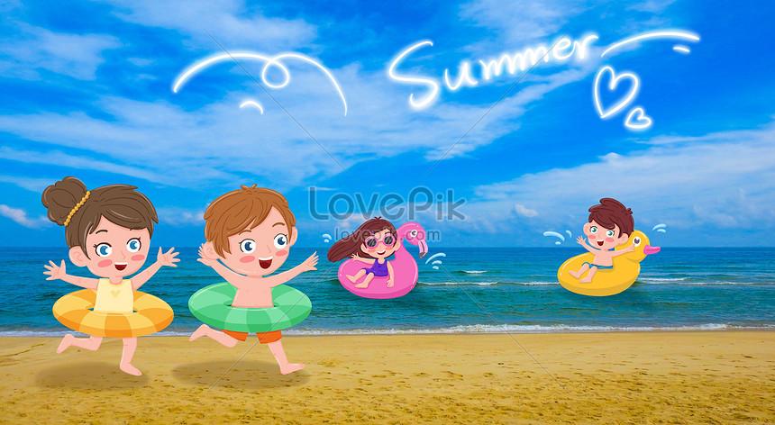 Lovepik صورة Psd 401449405 Id توضيح بحث صور أطفال يسبحون في الصيف على الشاطئ