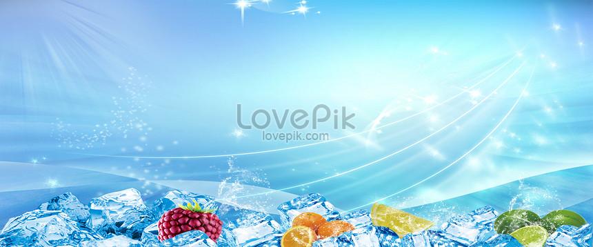 ice cubes fruit background