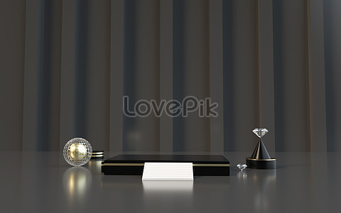 C4d black gold background creative image_picture free