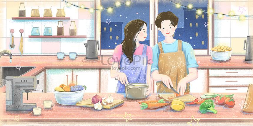 Pasangan Memasak Bersama Di Dapur Gambar Unduh Gratis Imej 401545154 Format Psd My Lovepik Com