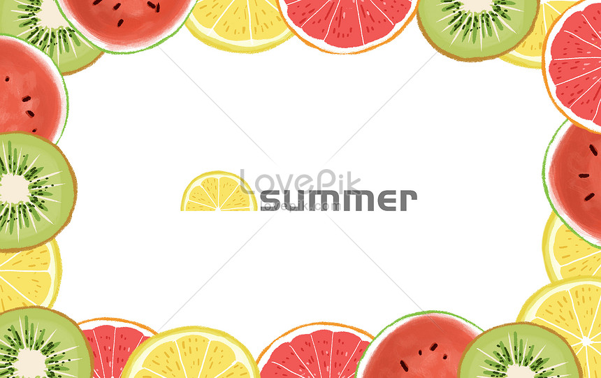 hand drawn fresh summer fruit