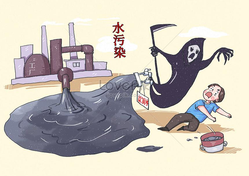 Lovepik صورة Psd 401576454 Id توضيح بحث صور كاريكاتير خطر تلوث المياه