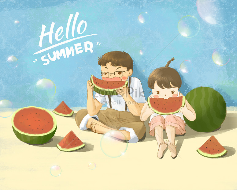 Hello summer illustration image_picture free download