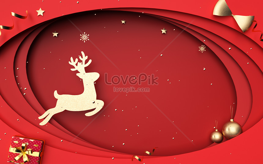red paper cut style christmas background