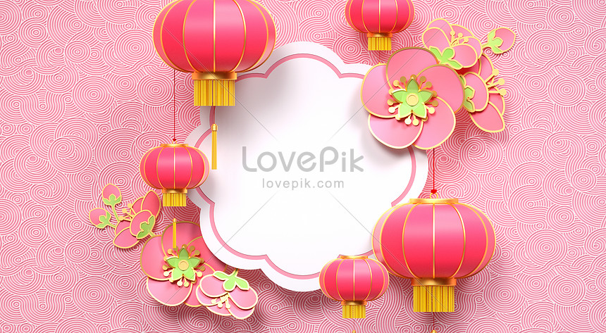 fresh pink chinese new year background