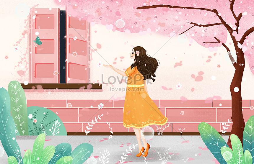 small fresh style spring cherry blossom illustration