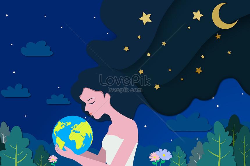 День Земли девушка держит землю творческой бумаги вырезать стиль