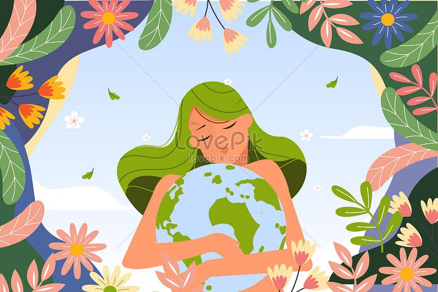 День Земли Девушка держит Землю Экологическая тема Плоский векто