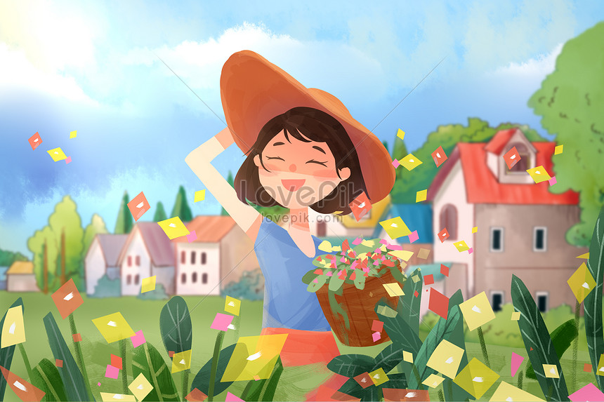 girl picking flowers in spring outing