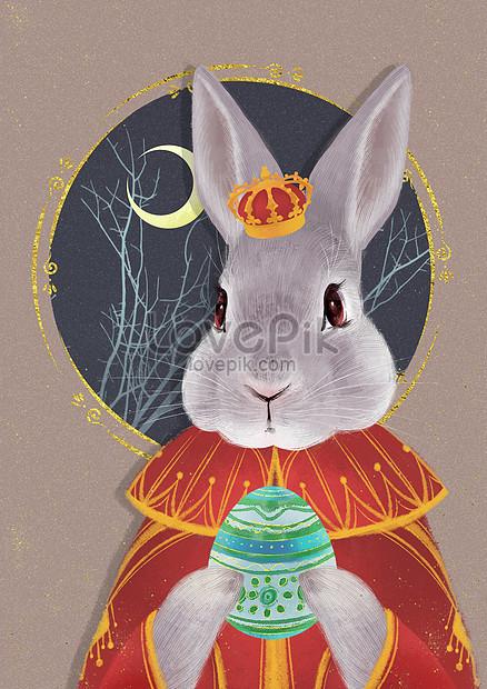 conejo gris de pascua y huevos de colores