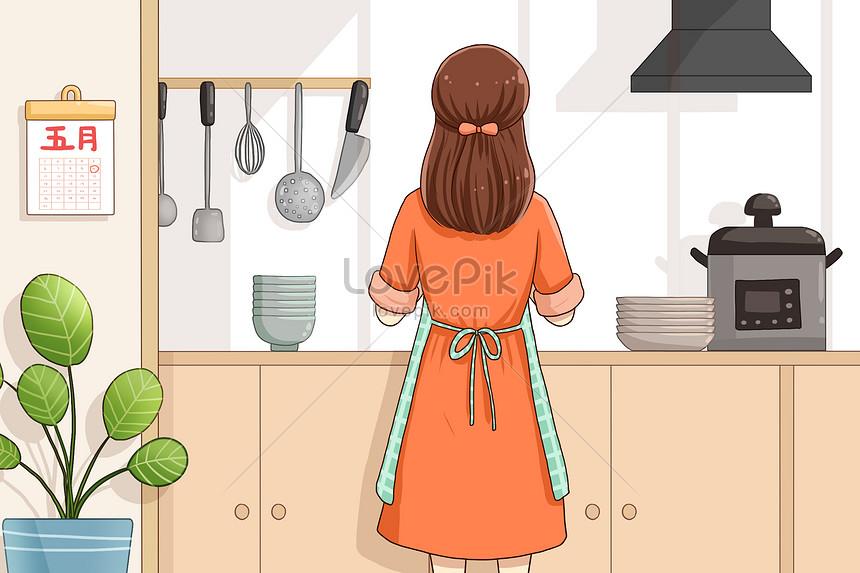 Punggung Ibu Di Dapur Gambar Unduh Gratis Imej 401706882 Format Psd My Lovepik Com