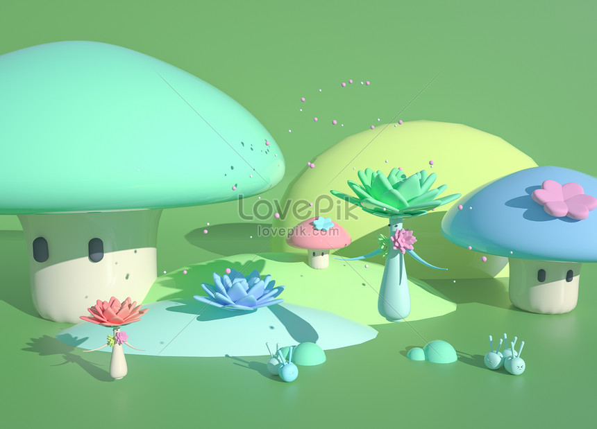 cartoon three dimensional spring scene
