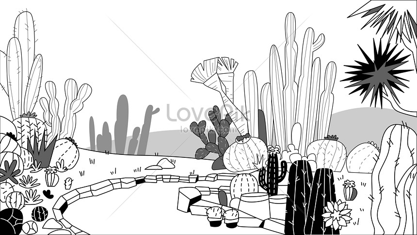 black and white botanical garden