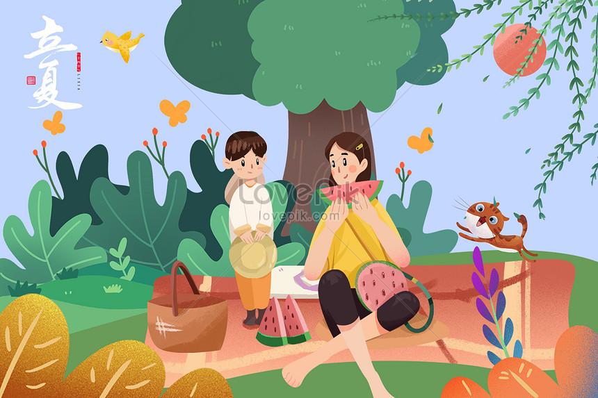 lixias mother with children picnic