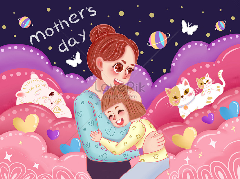 mothers day cartoon cute hand drawn illustration