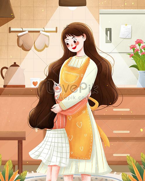 ilustración del día de la madre abrazando a madre e hija