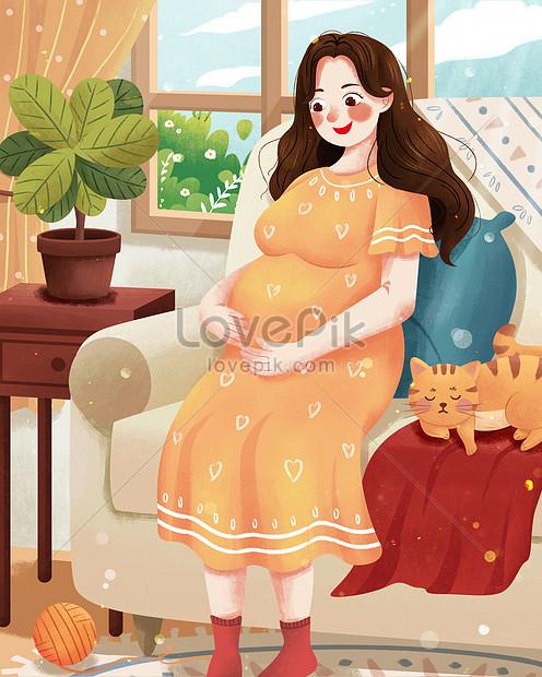 माताओं का दिन खुश गर्भवती माँ का चित्रण