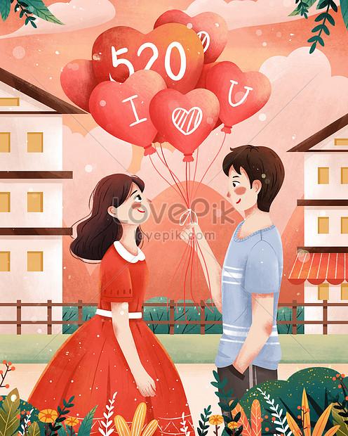 520 confession day holding a love balloon boy confession illustr