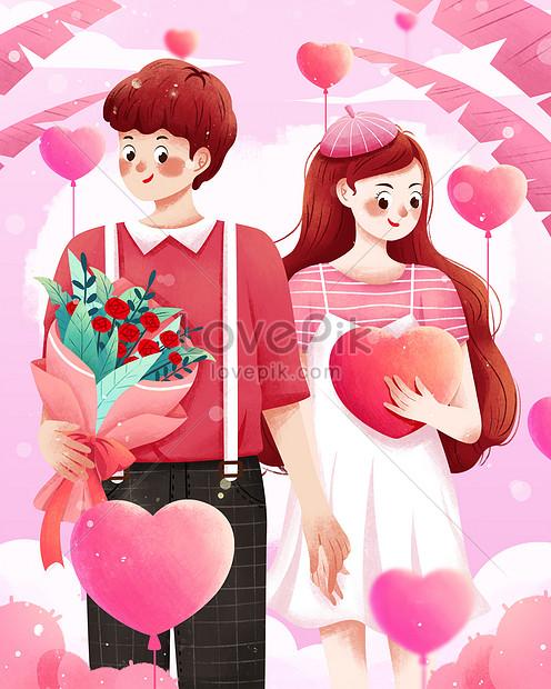 520告白の日ロマンチックなカップルは手を繋いでいるイラスト