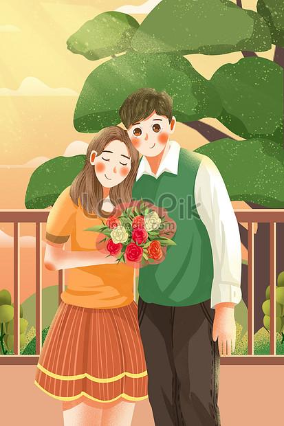 dulce caricatura fresca 520 día de confesión pareja de flores il