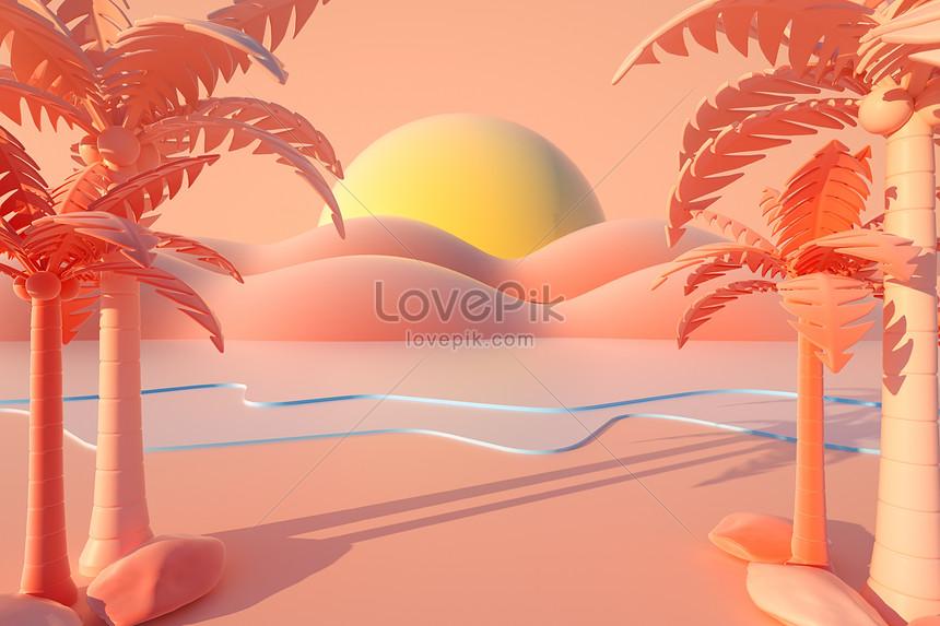 c4d лето трехмерная иллюстрация