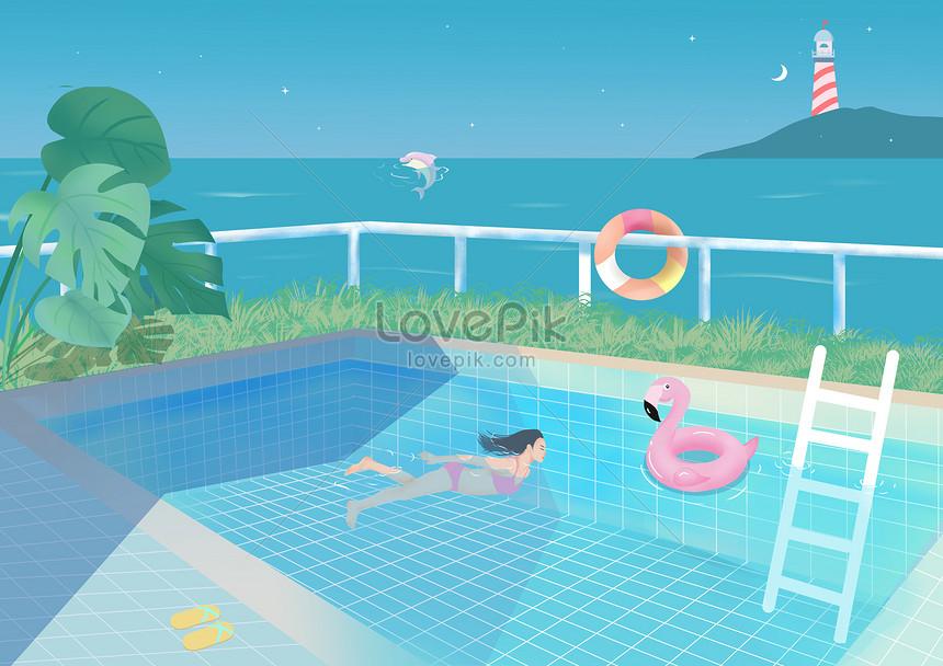 cool summer swimming pool