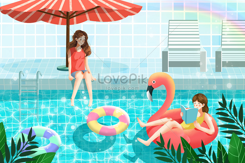 cool summer summer swimming pool cool illustration