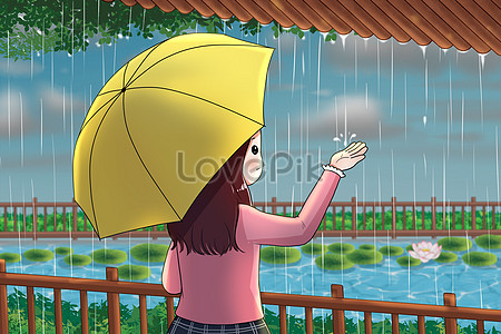 Girl watching the rain under the eaves jpg