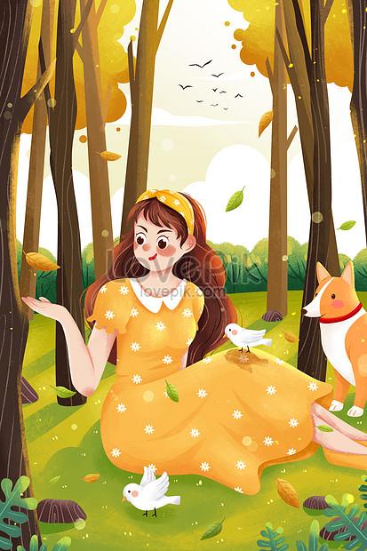 la niña en el bosque de otoño recogiendo hojas caídas