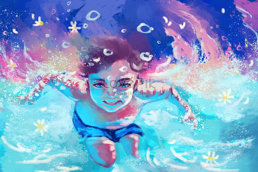 Lovepik صورة Psd 401774792 Id توضيح بحث صور أطفال يسبحون في الصيف